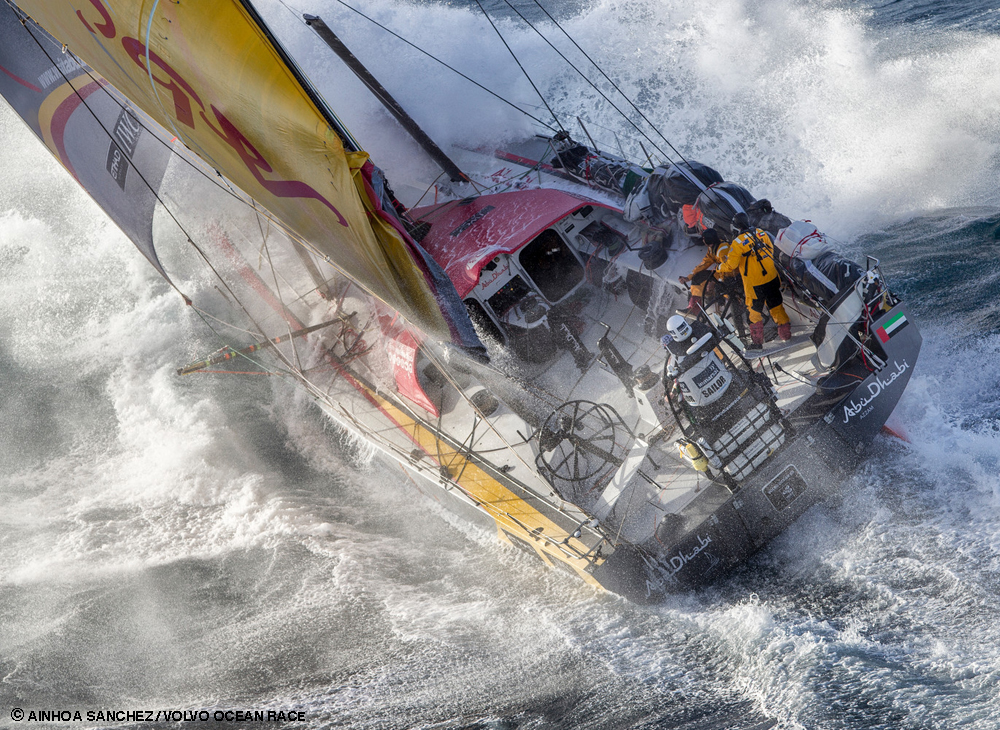 March 19, 2015. Abu Dhabi Ocean Racing tackles steep and angry seas as they pass East Cape, the eastern-most point of New Zealand. Photo credit: Ainhoa Sanchez / Volvo Ocean Race