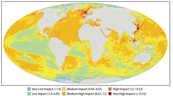 World's ocean looking at how much impact humans have caused Halpern 2008