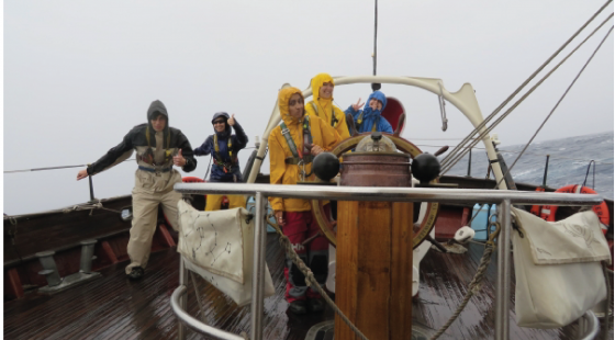 rain, tall ship, sailing, foul weather gear