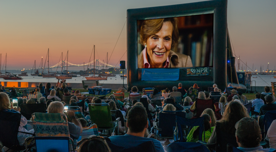 Dr. Sylvia Earle on this big screen with the Newport Bridge in the background. Photo by J. Clancy Photography