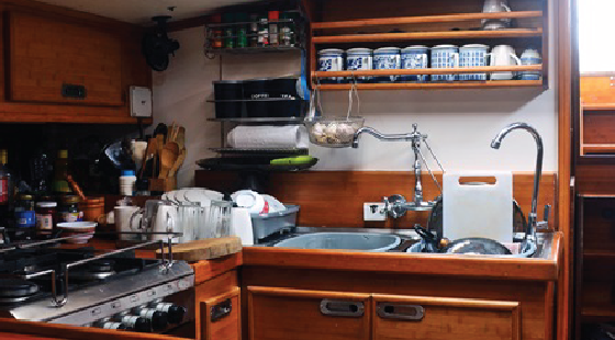 galley, food preparation, boat kitchen