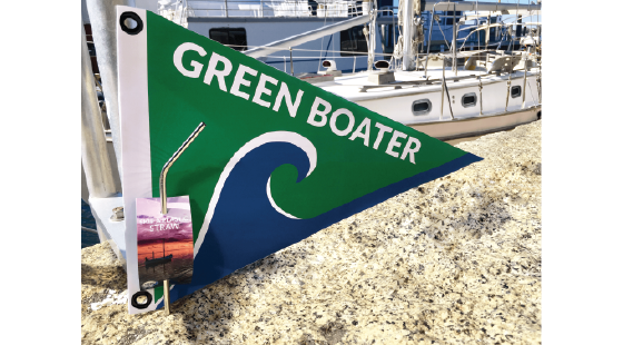 burgee, green boater