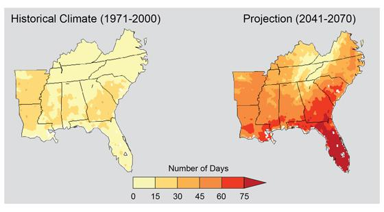 Projected change in number of days of 95 degrees Fahrenheit