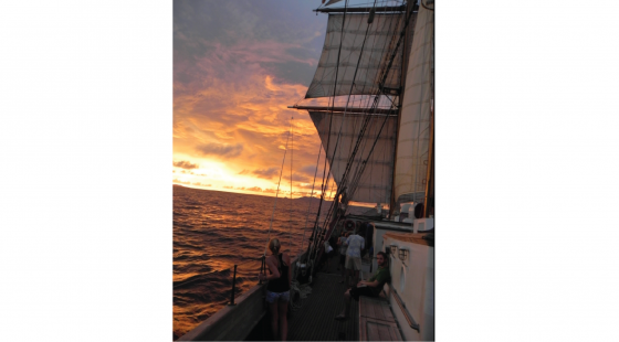 sunset, Caribbean, tall ship, marine science