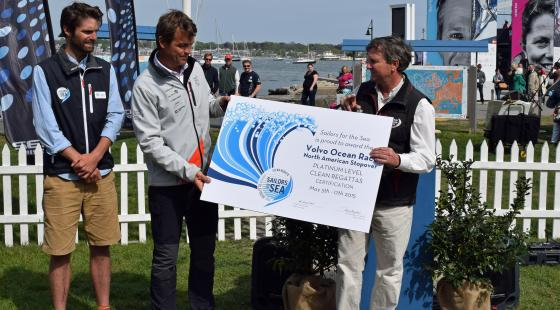 From left to right, Sailors for the Sea Sustainability Director, Tyson Bottenus, Knut Frostad, CEO Volvo Ocean Race and Brad Read, Executive Director of Sail Newport.
