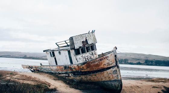 abandoned boat, point reyes, derelict boat, ben cliff, unsplash,