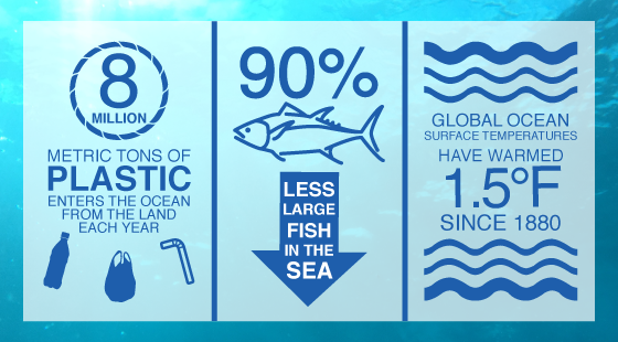 ocean statistics, 8 million tons of plastic enter the ocean, 90% less large fish in the sea, Global Ocean surface temperatures have warmed 1.5 degrees