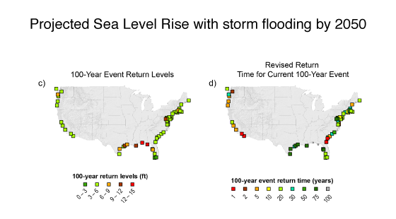 projected sea level rise with storm floorings by 2050