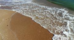 Water washes up on beach