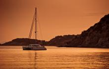 charter boat, sunset, green boating