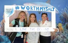 Volvo Ocean Race pledge to love the ocean with Shelley Brown, Mary Ann Horrigan and Jessica Servis.